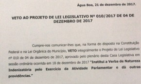 VETO DO CHEFE DO EXECUTIVO